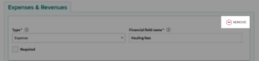 remove financial field